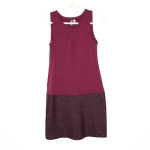 IBEX Color Block Wool Shift Dress Maroon Plum S